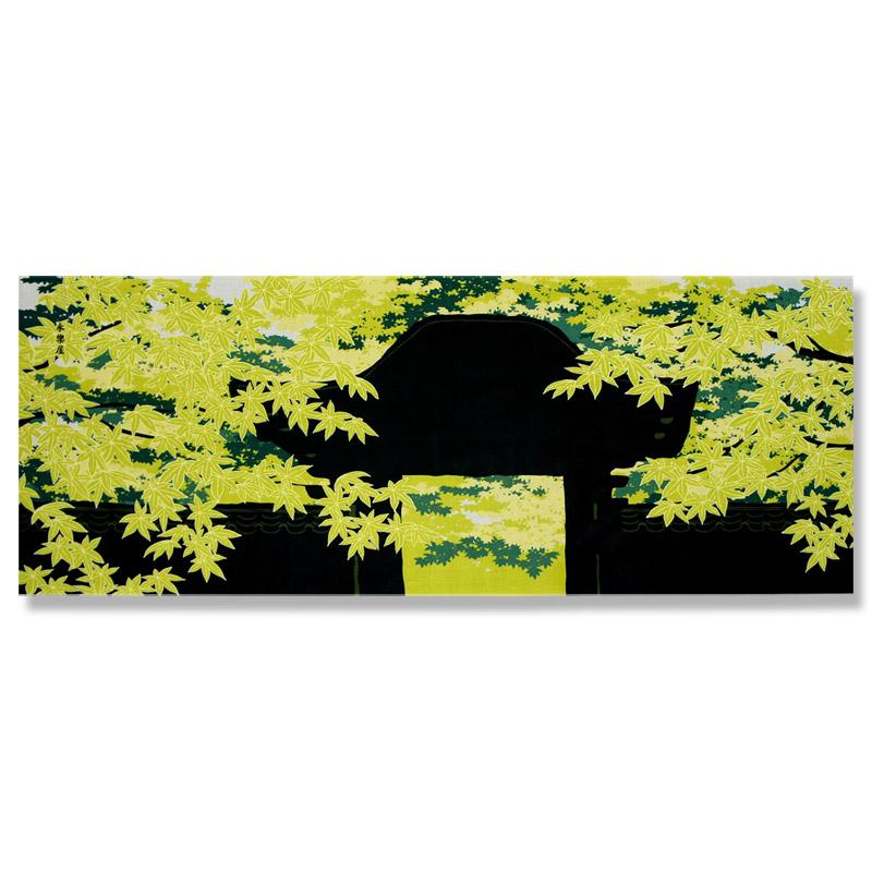 町家手拭 「山門と紅葉」(グリーン)