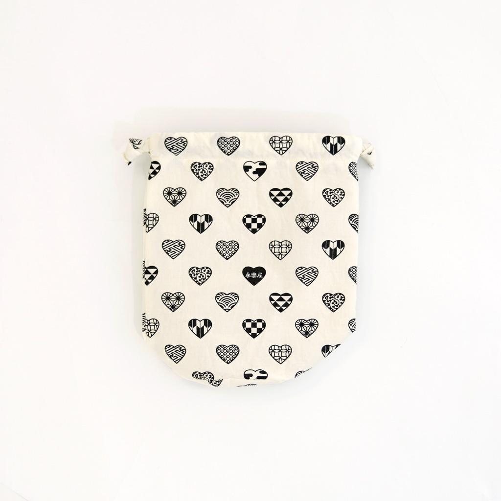 丸底巾着 「ラブリ紋」(ホワイト/ブラック)
