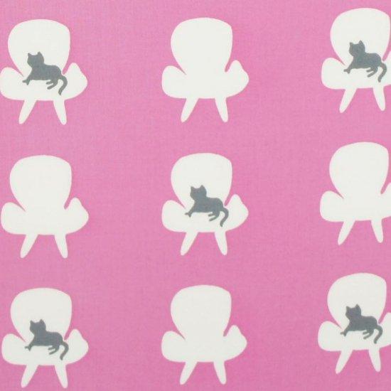 手拭総柄90cm 「ソファと猫」(ピンク/グレー)