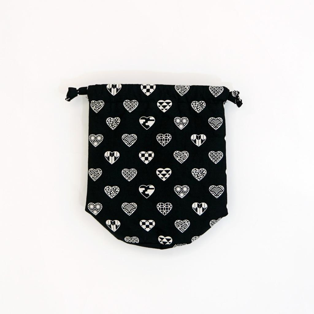 丸底巾着 「ラブリ紋」(ブラック/ホワイト)