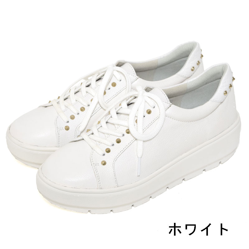 Vue スタッズ付きレースアップレザースニーカー 【VF81692】