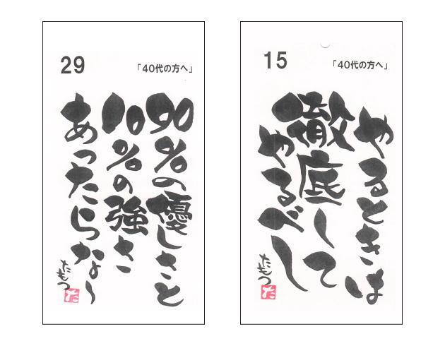 40代の方に贈る言葉 / ずーっと使える1ヶ月日めくりカレンダー / 宮崎の詩画創作家 安部種萌土 作 / メール便のみ