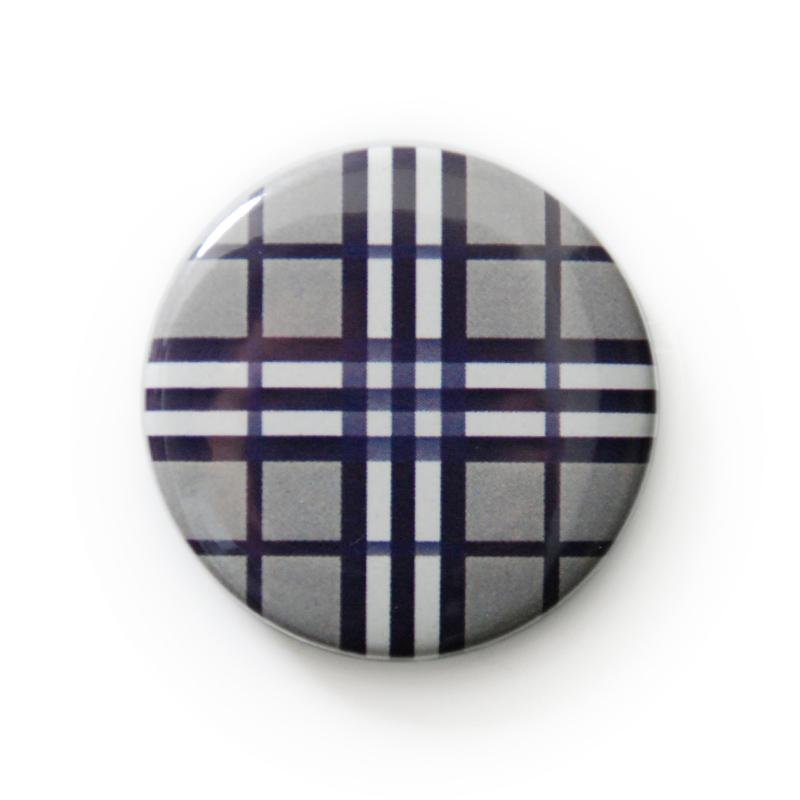 缶バッジ 柄・模様シリーズ 020 バーバリーチェック グレー  (pattern series)