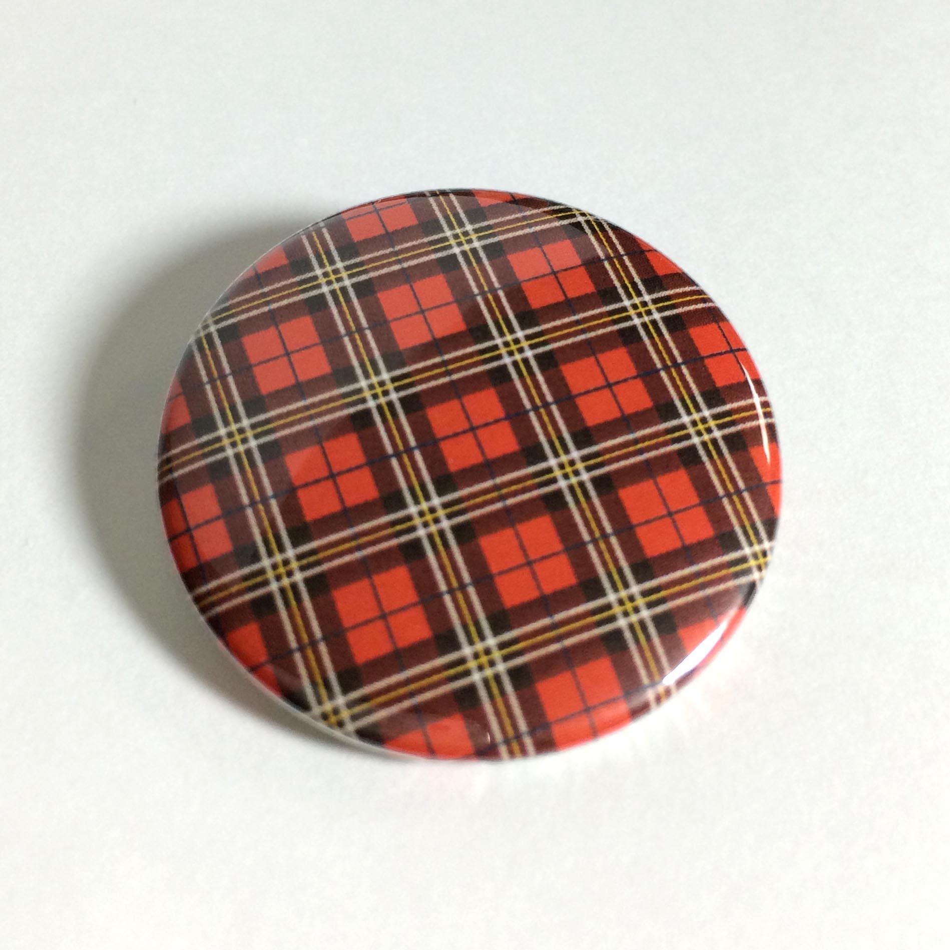 缶バッジ 柄・模様シリーズ 021 タータンチェック レッド  (pattern series)
