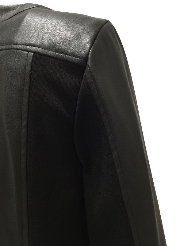 【SALE 50%OFF】i BLUES/イブルース フリル付き エコレザージャケット ブラック 2019-20AW COLLECTION
