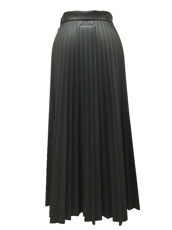 【SALE 40%OFF】MM6 Maison Margiela/エムエムシックス メゾンマルジェラ エコレザー プリーツスカート カーキ 2019-20AW PRECOLLECTON