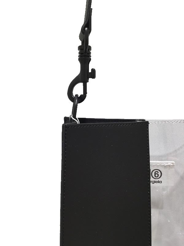 MM6 Maison Margiela/エムエムシックス メゾンマルジェラ PVC×レザー ハーフ&ハーフ ストラップ付トートバッグ  2019SS MAINCOLLECTON