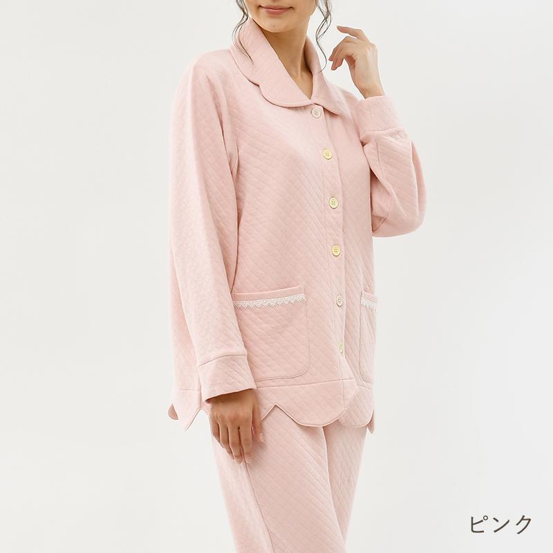 【リリーパレット】 キルトニットパジャマ スカラップ隠れリブ袖   #Lilypalette #パジャマ #ルームウェア #上下セット #パステルカラー #キルティング #長袖 #コットン100%