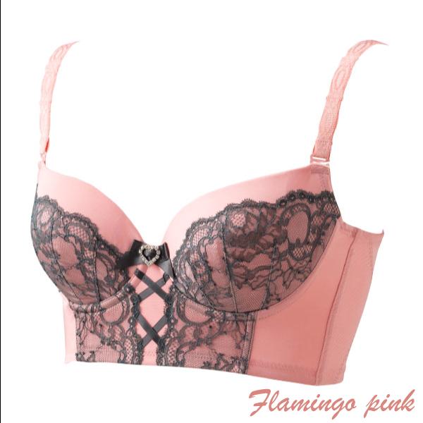 【エクラン】 セミロングブラジャー フラミンゴピンク | #Ecrin #ブラジャー #インナー #補正下着 #補正インナー #光電子®繊維 #ピンク