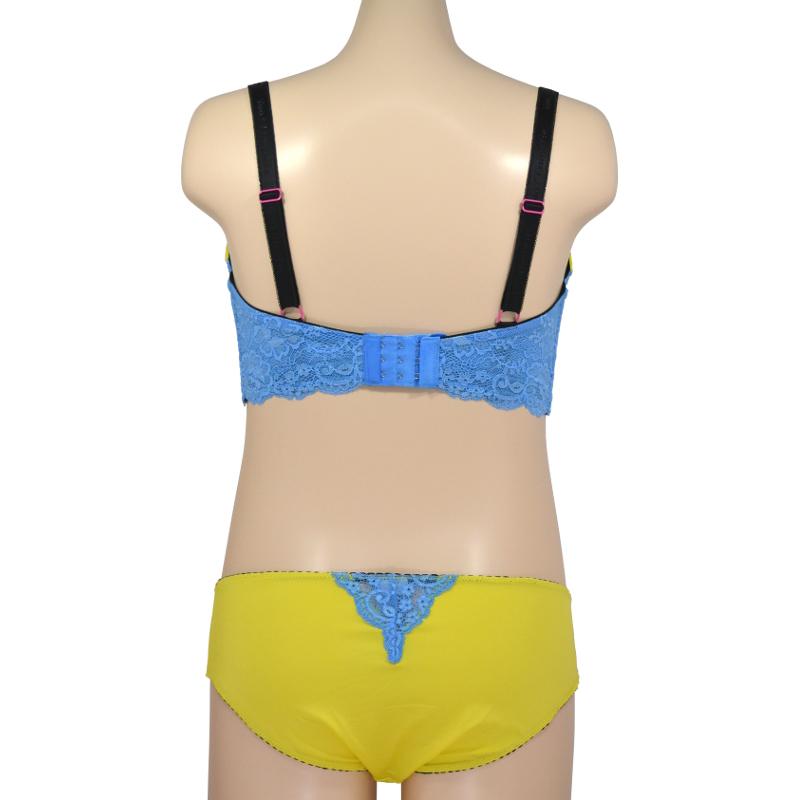 アンダー65cmのみ 黄色×水色 元気なビタミンカラーブラ。ラメの入った水色レースのTシャツブラ。授乳ブラ・マタニティブラ(ソフトワイヤー)