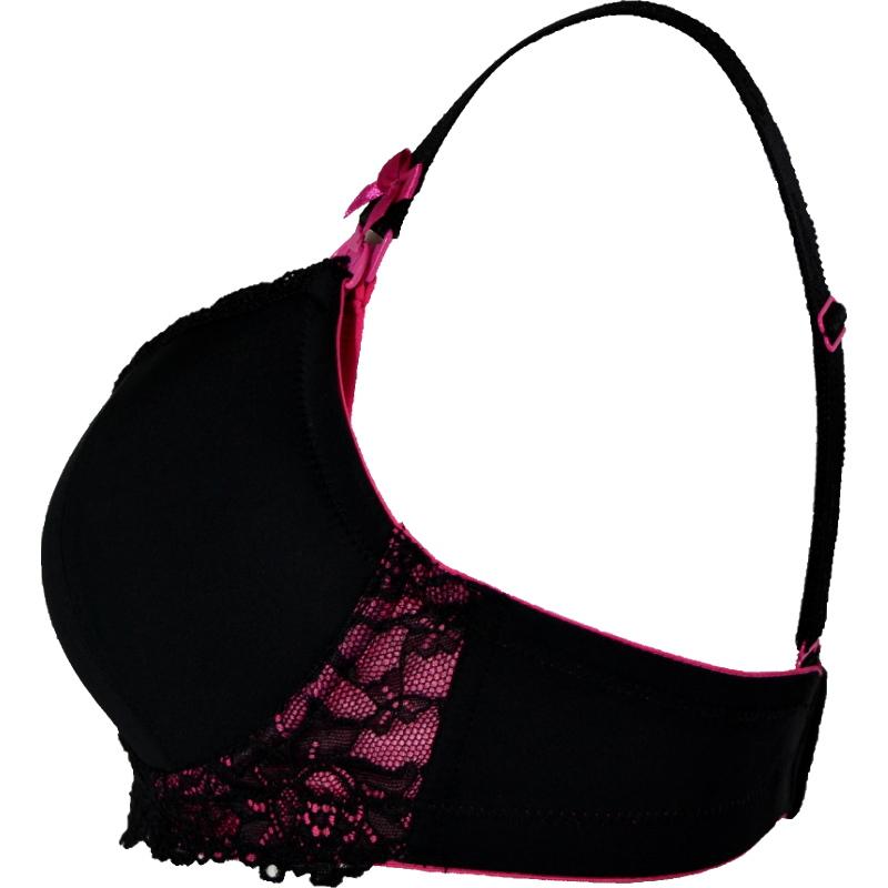 [F75][E85]のみ アンダーにピンクがチラ見え☆ノンワイヤーの黒ブラ。授乳ブラ・マタニティブラ兼用
