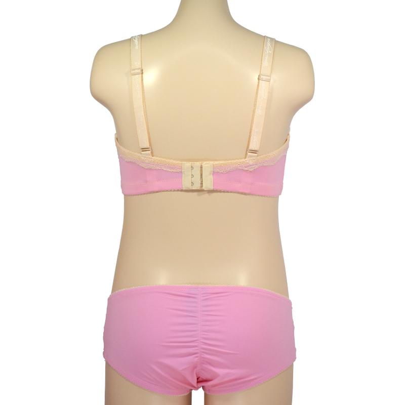 淡いピンクにクリームレース。甘くセクシーなブラ。授乳ブラ・マタニティブラ兼用(ノンワイヤー/ソフトワイヤー)