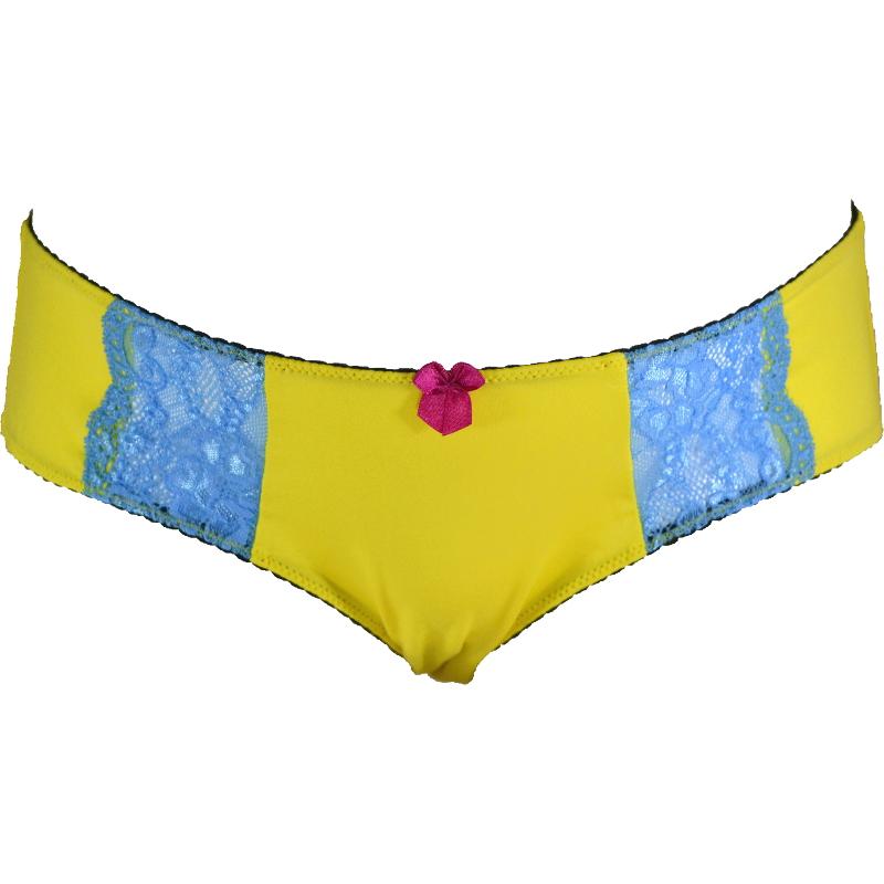 黄色×水色 元気なビタミンカラーのマタニティ・産後兼用ローライズショーツ。
