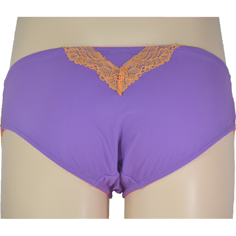 紫を閉じ込めた、オレンジレース。後ろ姿で、ドキッとさせる。マタニティ・産後兼用ローライズ。