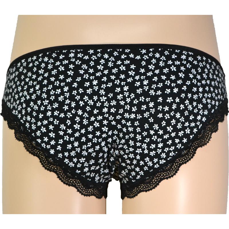 黒×白小花柄 綿混でよく伸びる。マタニティ・産後兼用ローライズ。