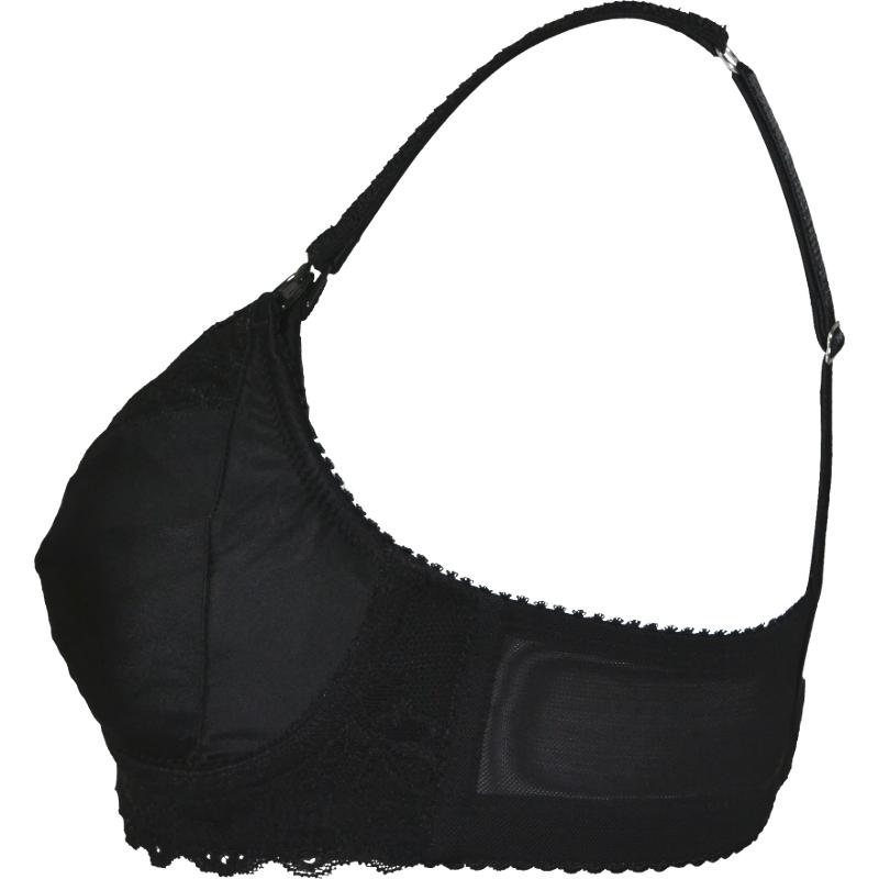 艶めく黒の上品なブラ。ノンワイヤーで優しく支える授乳ブラ・マタニティブラ。