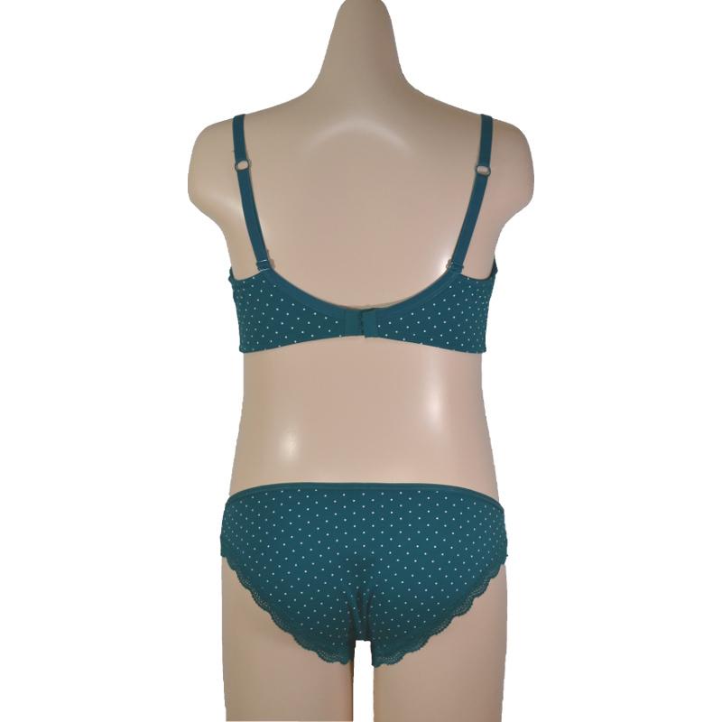 青緑×白水玉柄 綿混で優しい肌触り。マタニティ・産後兼用ローライズ。