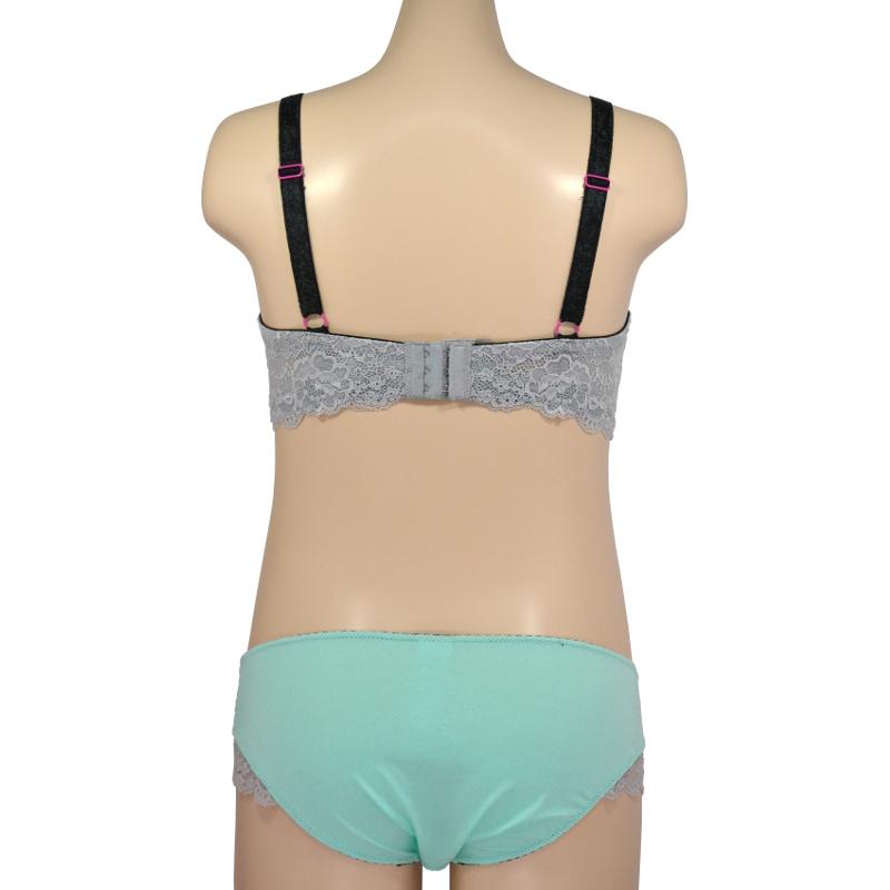 [E65]のみ クールミントの涼しげなTシャツブラ。シルバーラメで差をつける。授乳ブラ・マタニティブラ兼用(ノンワイヤー)