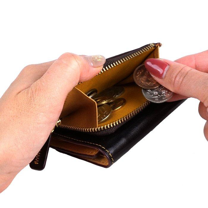 財布 三つ折り財布 メンズ 小さい財布 本革 紳士 小銭あり 折りたたみ財布 コンパクト財布 極小財布 牛革 馬革 素上げ カード入れ ビジネス シック エンブレム pacca pacca サイフ