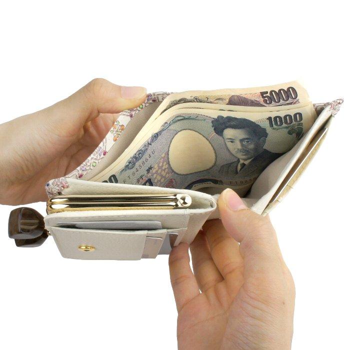 二つ折り財布 がま口 本革 日本製 フラワーガーデン 友禅文庫