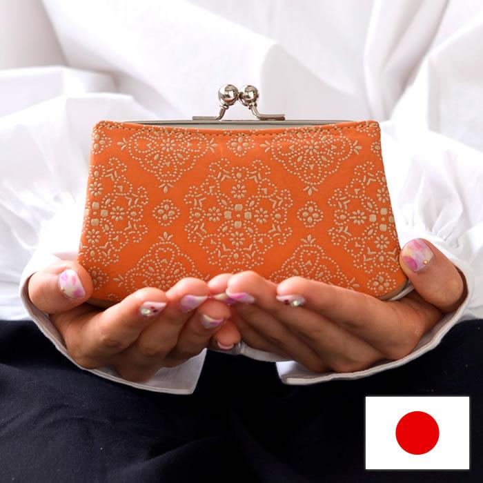 がま口財布 親子がま口 カード入れ 漆 牛革 日本製 レースフラワー isuru JAPON