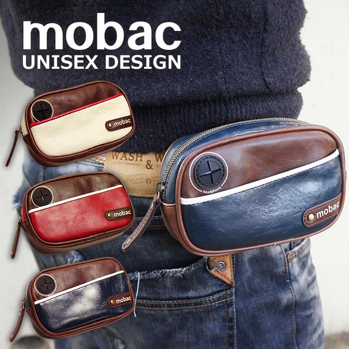 スタイリッシュなツートンカラーの横型ウエストポーチ・モバイルケース・スマホケース【mobac】