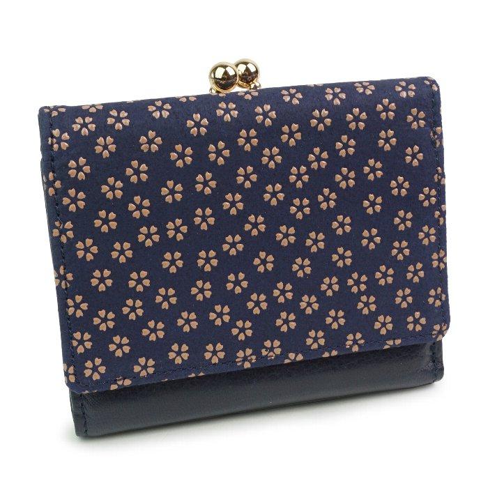 三つ折り財布 がま口 漆 鹿革 本革 エコレザー 日本製 和風 小桜 春 コザクラ 古都印伝