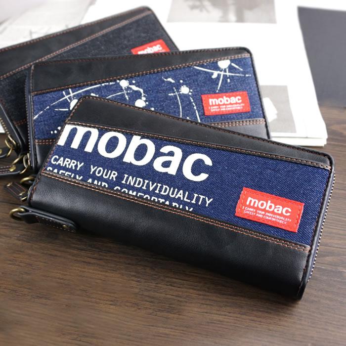 長財布 ラウンドファスナー 大容量 カード入れ メンズ デニム mobac