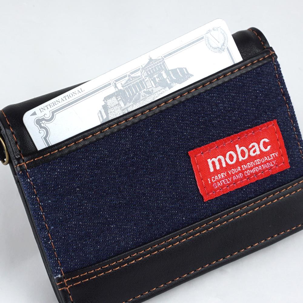 パスケース メンズ 定期入れ 二つ折り 横型 デニム カジュアル 普段使い モバック mobac