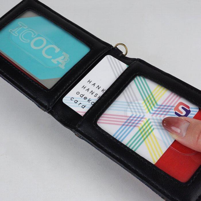 パスケース メンズ 定期入れ 二つ折り 縦型 デニム カジュアル 普段使い モバック mobac