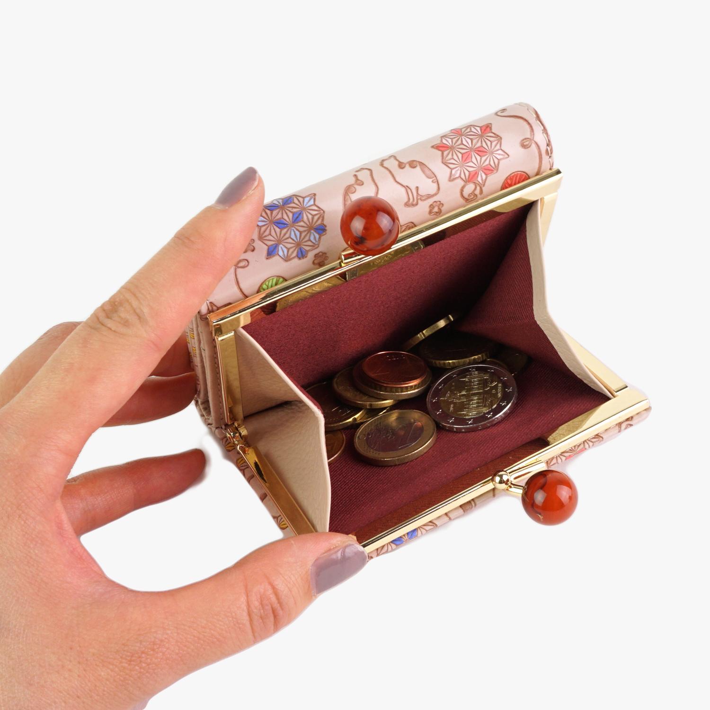 財布 レディース 三つ折り財布 がま口 がま口財布 レディース かわいい  厄除け 魔除け 縁起 麻の葉 和柄 和風 本革 日本製 猫柄 ねこ 手描き 猫遊び 友禅文庫 母の日 プレゼント クリスマス