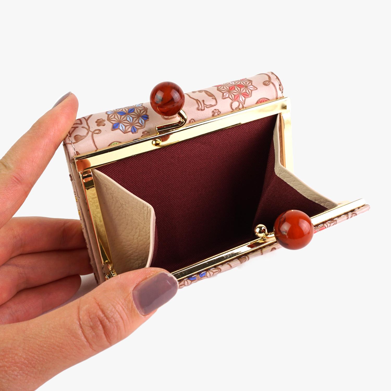 友禅文庫 猫遊び 三つ折り財布