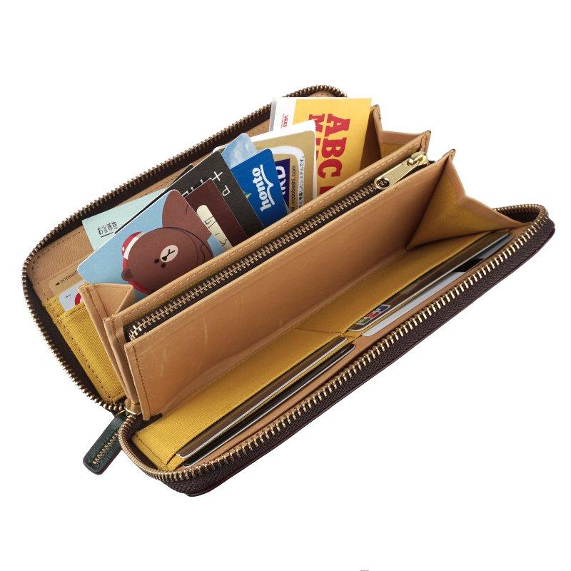 ラウンドファスナー長財布 大容量 小銭入れあり メンズ 馬革 牛革 本革 素上げ エンブレム paccapacca