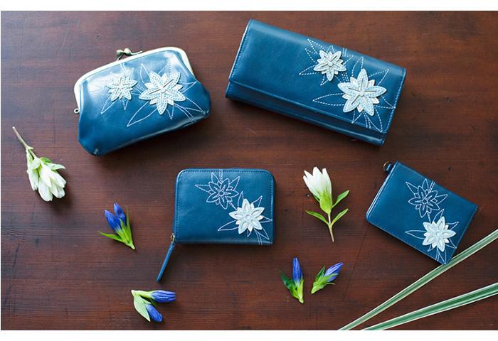 12ヶ月の誕生花をモチーフにしたパッチワークが美しい二つ折りパスケース【銭入屋】