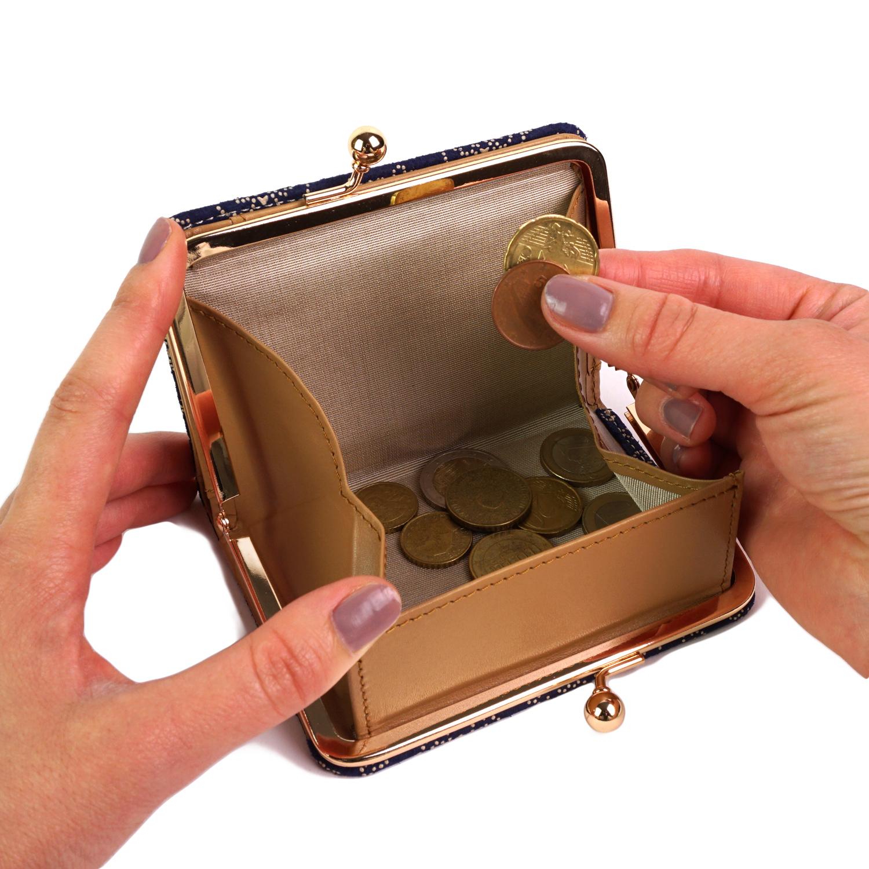 古都印伝 レースフラワー 二つ折り財布