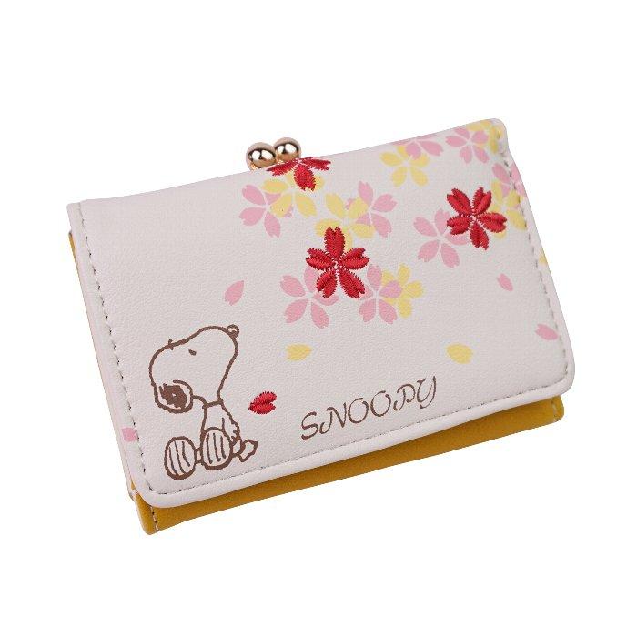スヌーピー 財布 三つ折り 3つ折り 小さい財布 レディース がま口 シンプル 大人 向け キュート SNOOPY キャラクター かわいい サイフ 折りたたみ財布 ショートウォレット