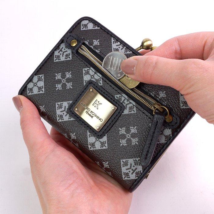 財布 がま口二つ折り財布 レディース 折りたたみ 6色 合成皮革 カジュアル ギフト プレゼント モノグラム コシノヒロコ HIROKO KOSHINO サイフ
