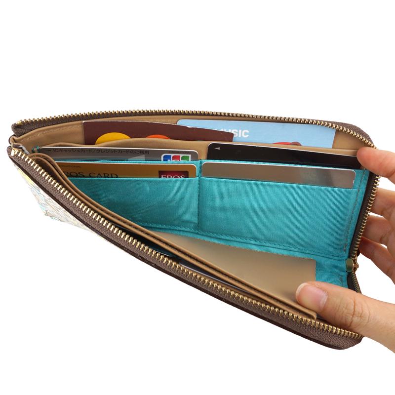 長財布 L字ファスナー カード入れ 財布 大容量 本革 日本製 トリアングル 友禅文庫