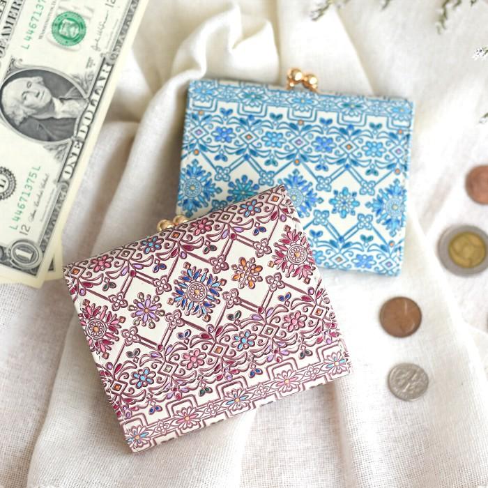 友禅文庫 フラワーガーデン がま口三つ折り財布