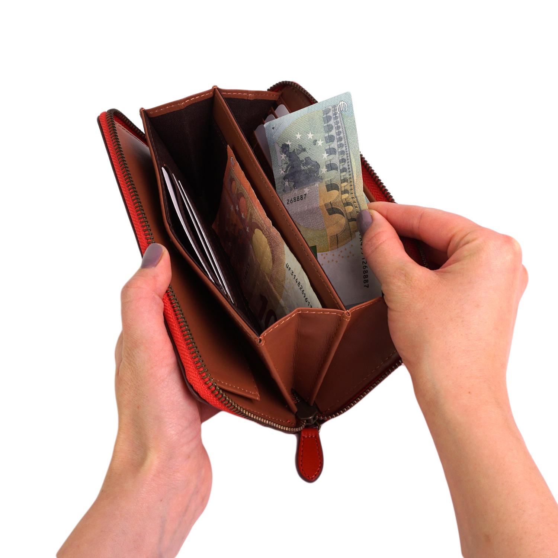 【名入れ対象商品】艶やかな天然牛革を使用したオープンボックスポケット付きラウンドファスナー大容量長財布