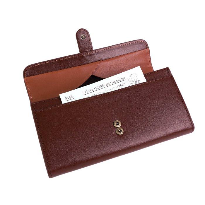 【名入れ対象商品】上品な艶を放つ天然牛革を使用したオープンボックス収納ポケット付きフラップ長財布