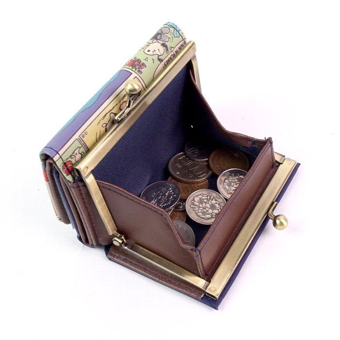 スヌーピー 三つ折り財布 レディース 大人 向け 小さい財布 がま口 コンパクト コミックシリーズ キュート ピーナッツ SNOOPY PEANUTS キャラクター かわいい サイフ