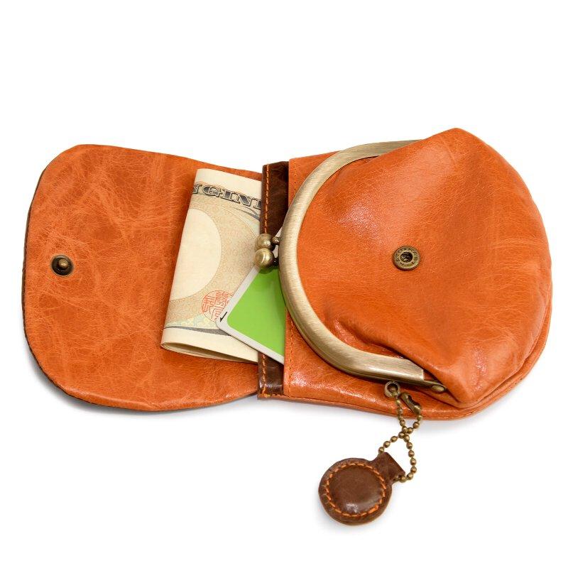 財布 レディース がま口 本革 がま口財布 かぶせ 小銭入れ コンパクト ミニ財布 チャーム丸型 馬革 かわいい カラフル キュート pacca pacca