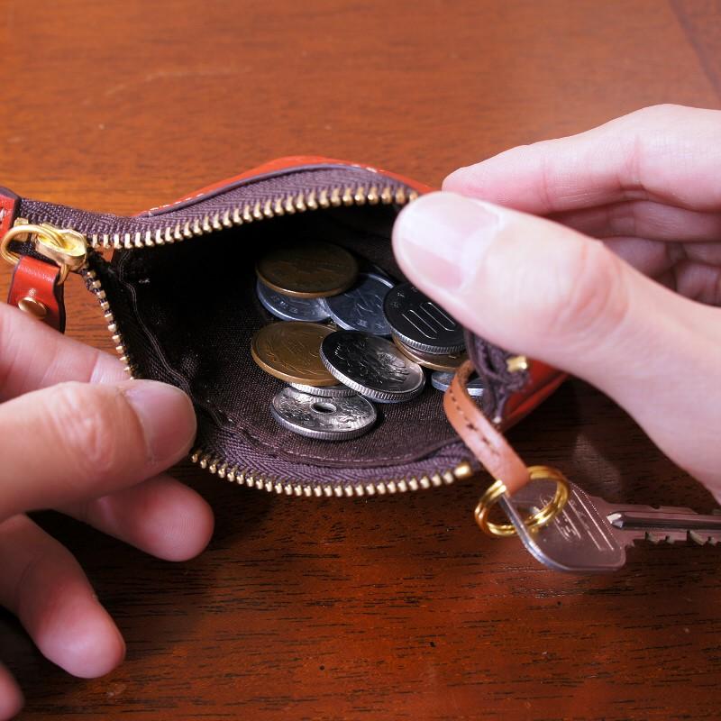 キーリング付小銭入れ キーバッグ キーケース 本革 アローレザー スマートキー対応