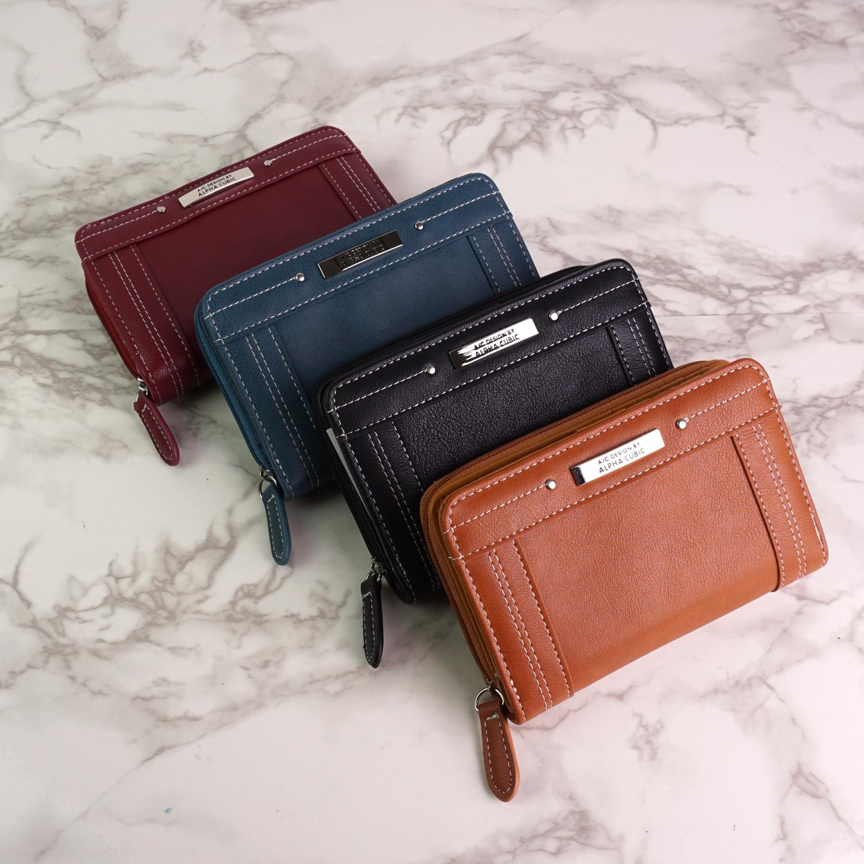 財布 二つ折り財布 レディース 大人向け 婦人財布 シンプル おしゃれ ALPHA CUBIC 大容量 サイフ プレゼント