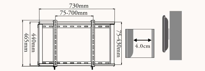 【37〜65型対応】汎用テレビ壁掛け金具 角度固定薄型 - PLB-104M