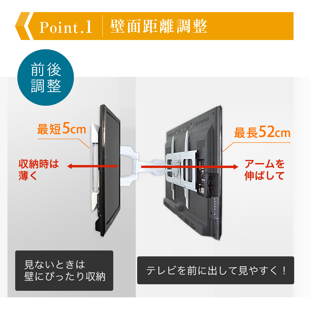 スタイリッシュシリーズ 壁掛け金具 上下左右角度調節ロングアーム - PRM-LT19M