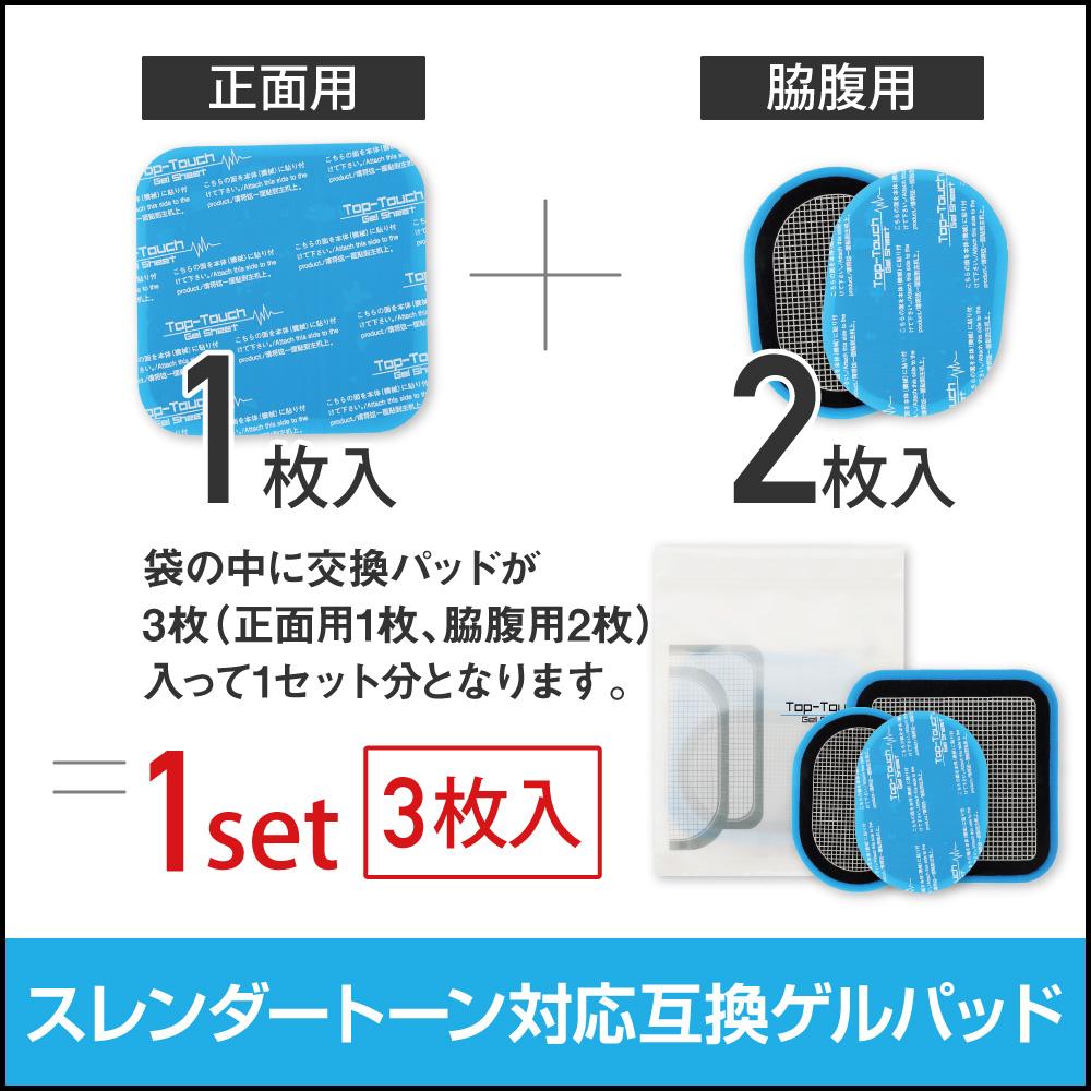 スレンダートーン対応 高品質互換パッド 1セット 計3枚 (正面用1枚 + 脇腹用2枚) SLENDERTONE 各種ベルトタイプ対応