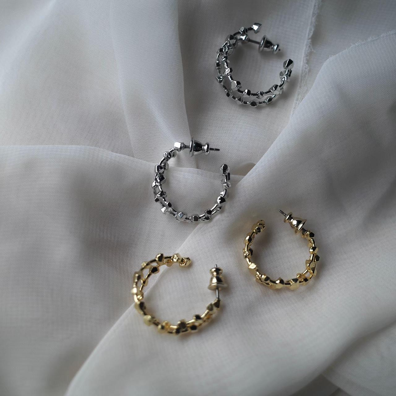 metal gem pierce/earring