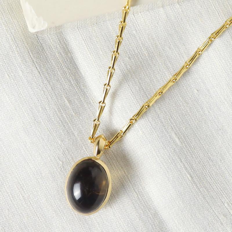 smoky quartz cobochon signature pendant